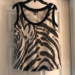Escada Made in Germany zebra print silk tank